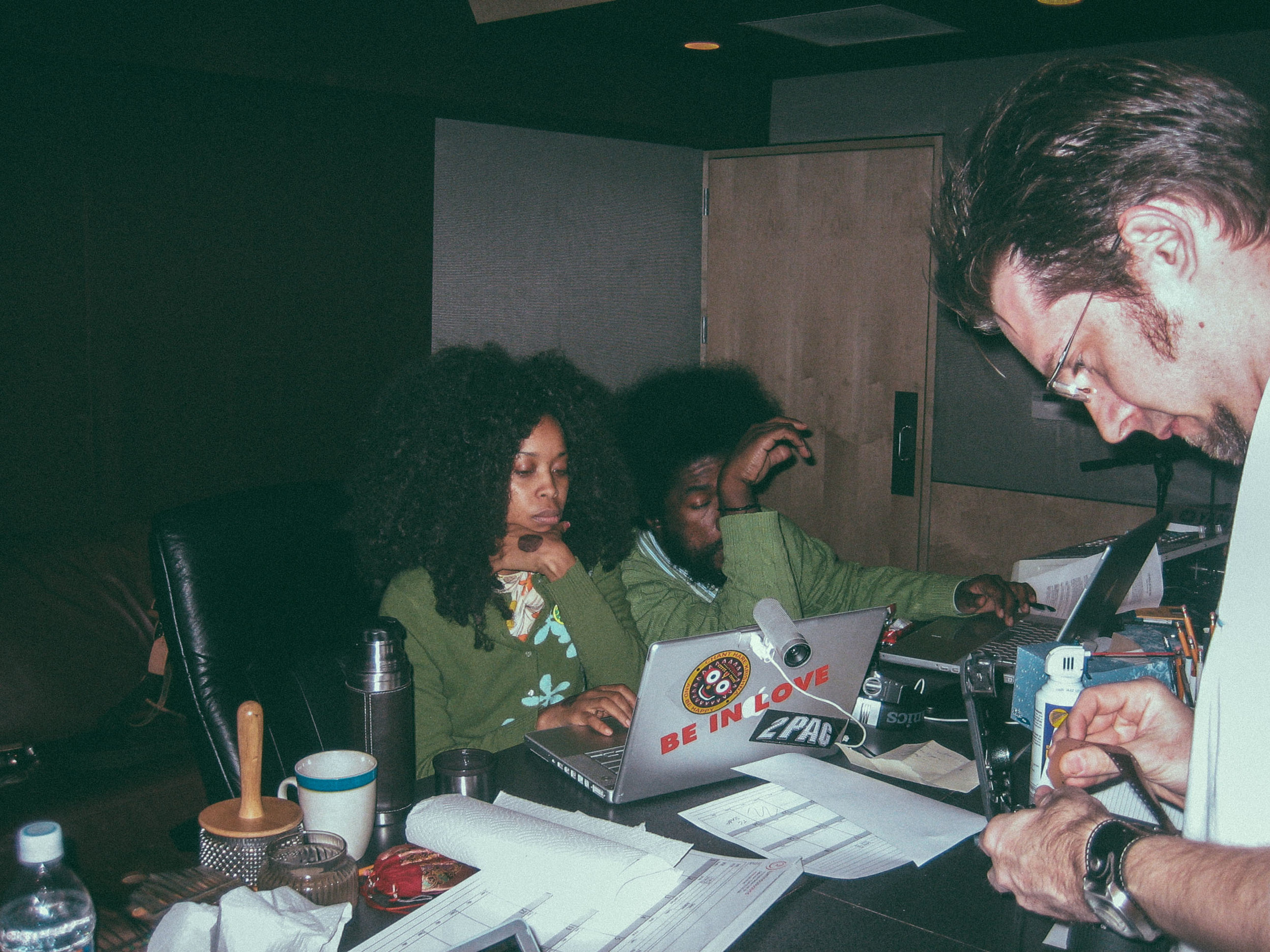 """In session with Erykah Badu and Questlove recording the song """"Window Seat"""" at Luminous Sound"""