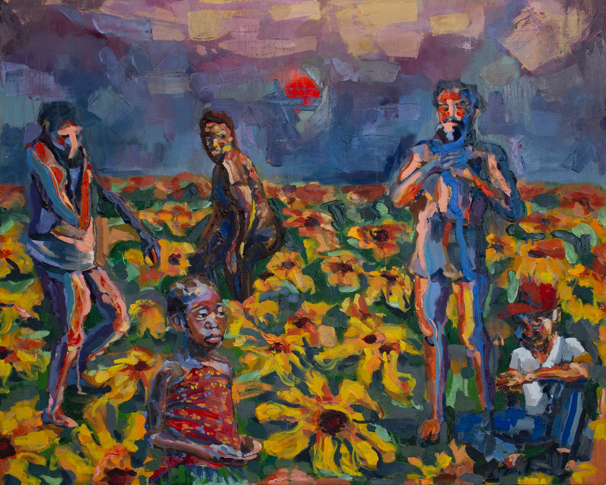 Sunflowers  (2018)  32 x 40 inches  Oil on Canvas