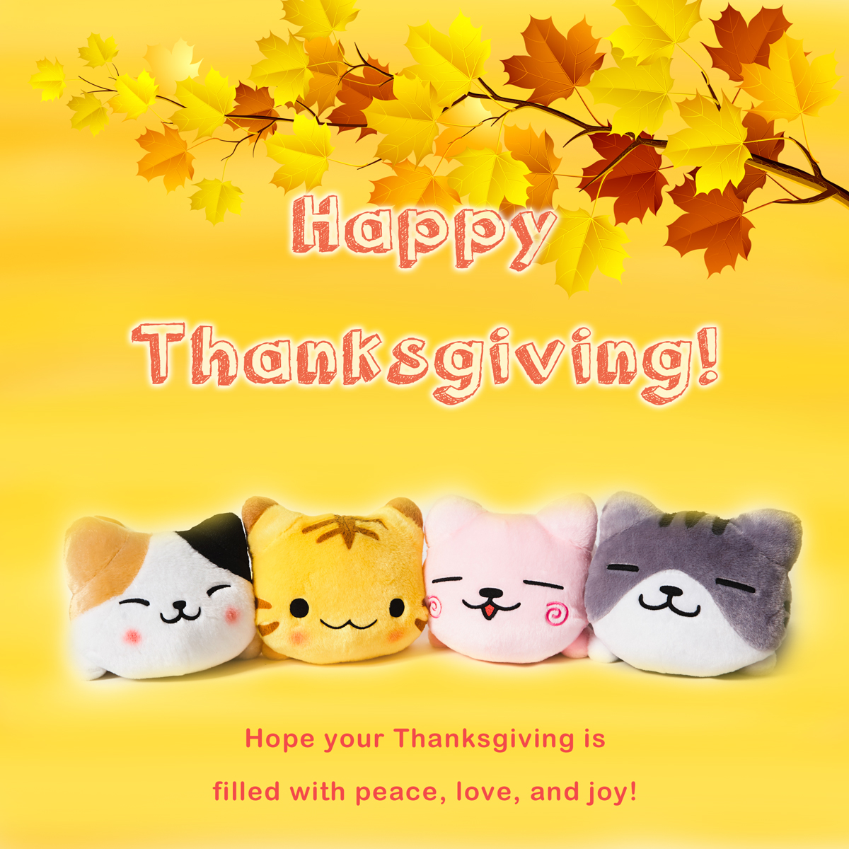 2017 Thanksgiving Greeting - Neko Cats Plush -  DOWNLOAD