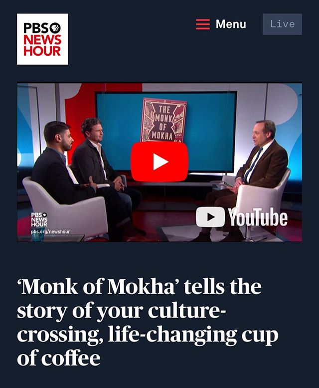 👋🏼 Oh hello, public television! Link in bio for tonight's appearance on PBS @newshour with Dave and Mokhtar. #coffee #tv #publictelevision #pbs #pbsnewshour #books #bookstagram #nonfiction #nonfictionbooks #thirdwavecoffee #mokhtaralkhanshali #themonkofmokha #🌟