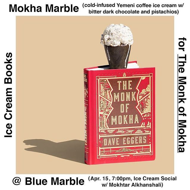 A perfect pair. Thanks @ice_cream_books and @bluemarblebk Brooklyn, we'll see you for an ice cream social with Mokhtar April 15. 👯‍♀️🍦✨ #themonkofmokha #daveeggers #mokhtaralkhanshali #coffee #thirdwavecoffee #icecream #thirdwaveicecream #brooklyn #yemen #icecreambooks #mokhtaralkhanshali #portofmokha