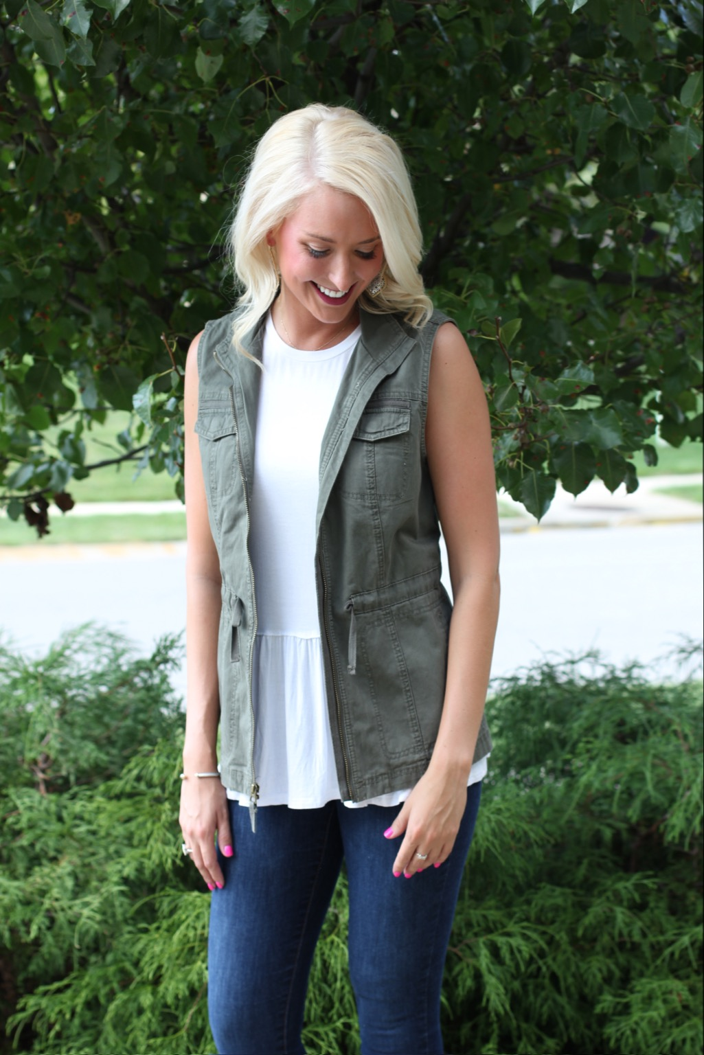 I'm always on the lookout for the perfect army green vest that can be used as we transition between summer & fall! I love this vest from Nordstom! Paired with Olivia Lane Collection's  Best White Peplum top (I'm wearing a medium)& Old Navy's Mid -Rise Rock Star Built-In Sculpt Jeggings! (These have a yoga pant waistline, and are so comfy! Try sizing down!)