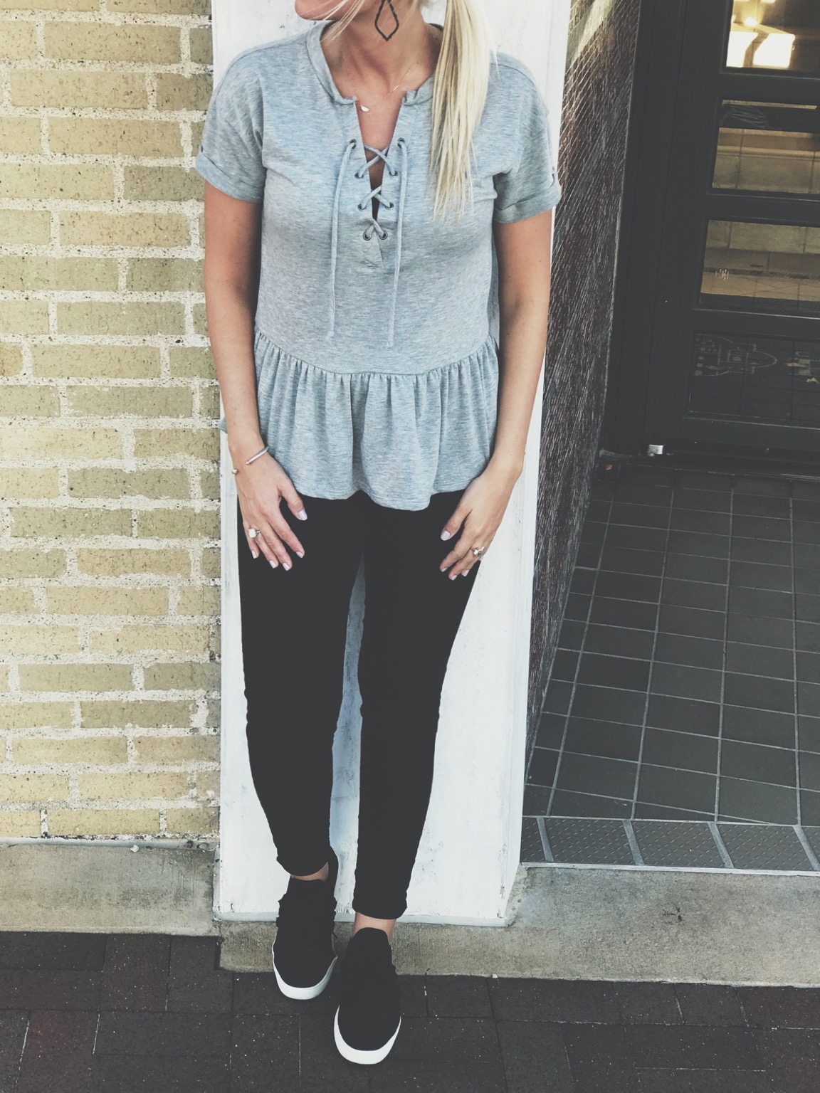 Peplum shirts have always been my go-to, especially because I think they are flattering on all body types! This top from Ever Eve runs big so size down! I am wearing a small! You've probably noticed most of my jeans come from Old Navy, reason being they offer a high-waisted style that is still long enough! (Tall people, check these out) and I usually stick with the Rockstar style, they have the most stretch! Athleisure sneakers are the perfect middle ground for the days when you have a million errands to run yet you still need to be put together. These Steve Madden lace up sneakers haven't left my feet since I bought them! P.s. I saw the perfect dupe at Target for $28, I could hardly tell the difference, but I know they are selling fast! Paired with a few of my everyday pieces & Kendra Scott Sophee Earrings, this  is the perfect errand running look!