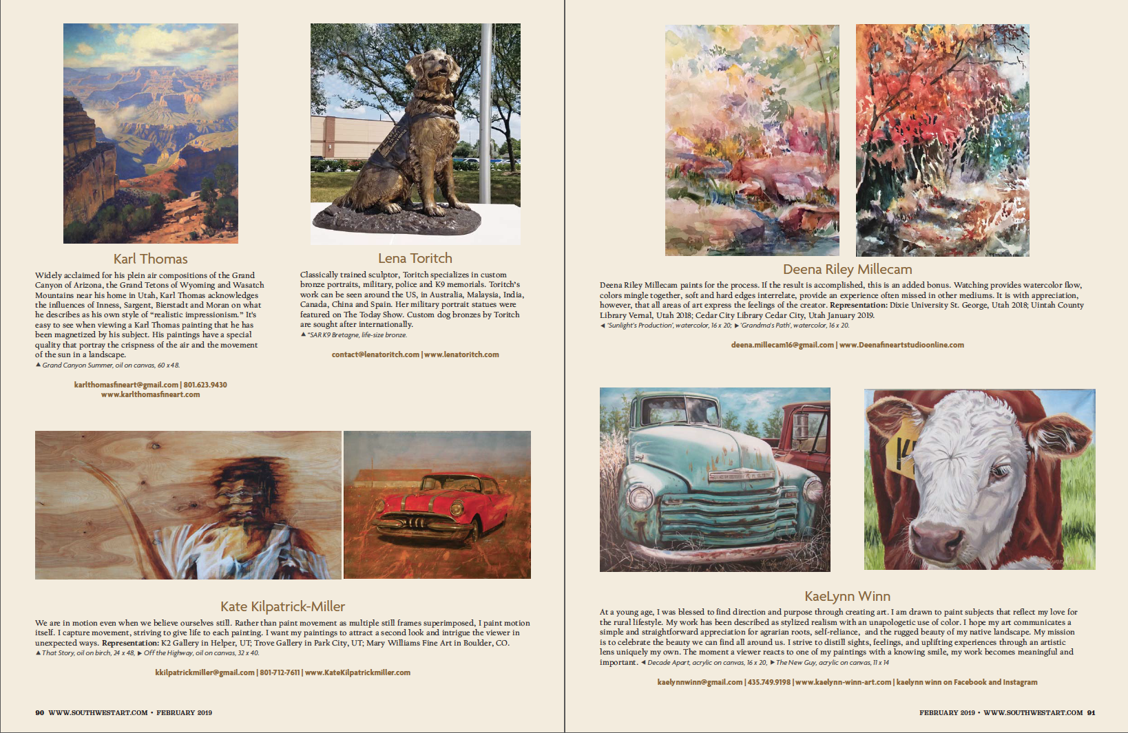 EXCERPT FROM SOUTHWEST ART MAGAZINE FEBRUARY 2019 ISSUE