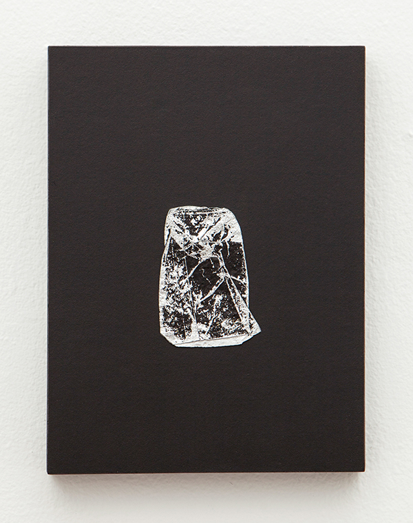 "Black Crush  Found metal, paper and acrylic on panel 8"" x 6"" x 1"" / 2013"