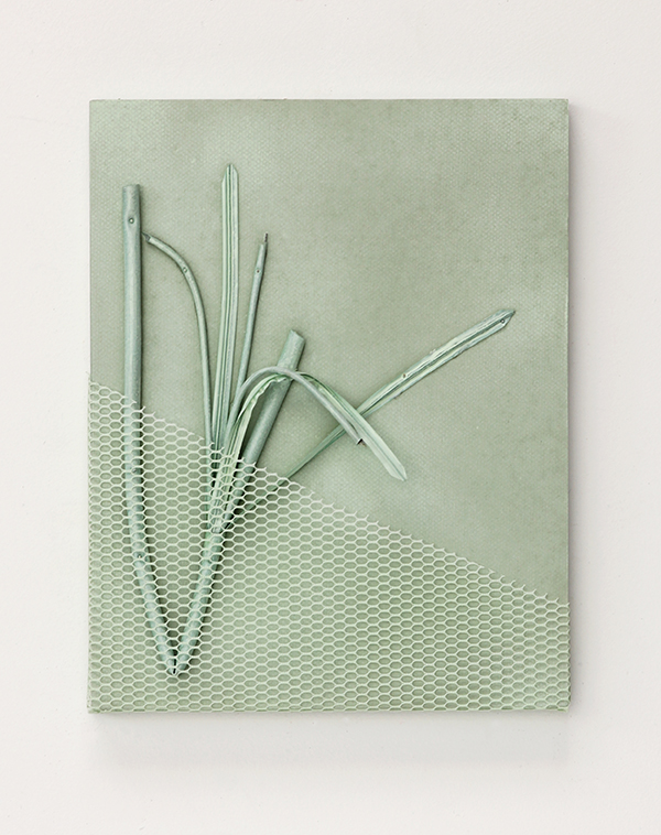 "Fold Plant  Paper, plastic plant, net, paper and acrylic on panel 14"" x 11"" x 1"" / 2017"