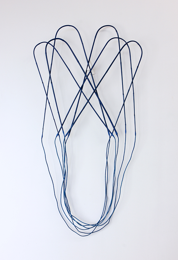 """Parabola's Root  Garden stakes, rope, fabric, acrylic, adhesive 67"""" x 30"""" x 4"""" / 2016"""