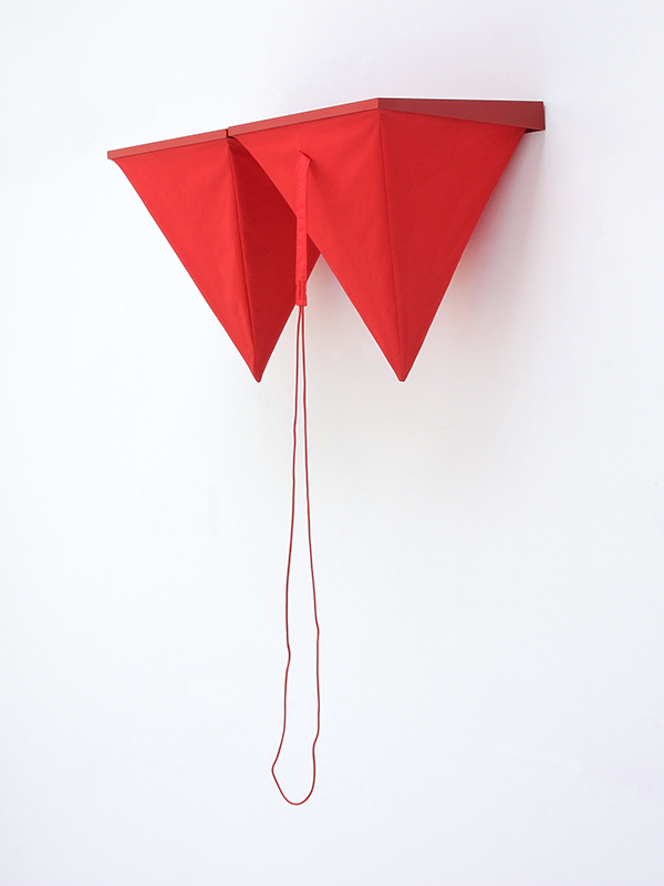 "Red Eight  Umbrella fabric, wood, canvas, rope, acrylic, adhesive 18"" x 29"" x 14.5"" / 2016"