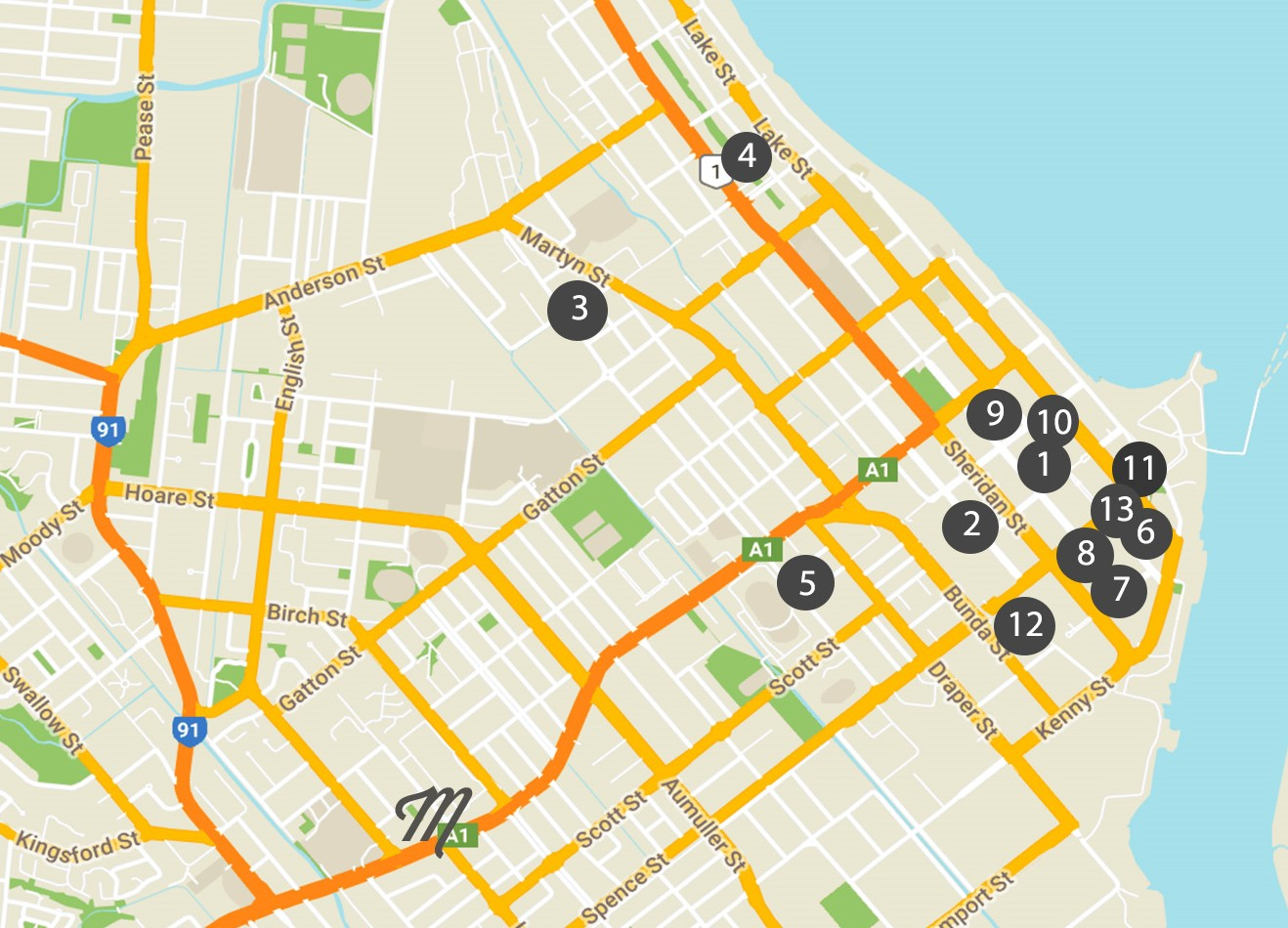 A visual of their positioning. Within the City Centre, these are in walking distance. Happy Exploring!