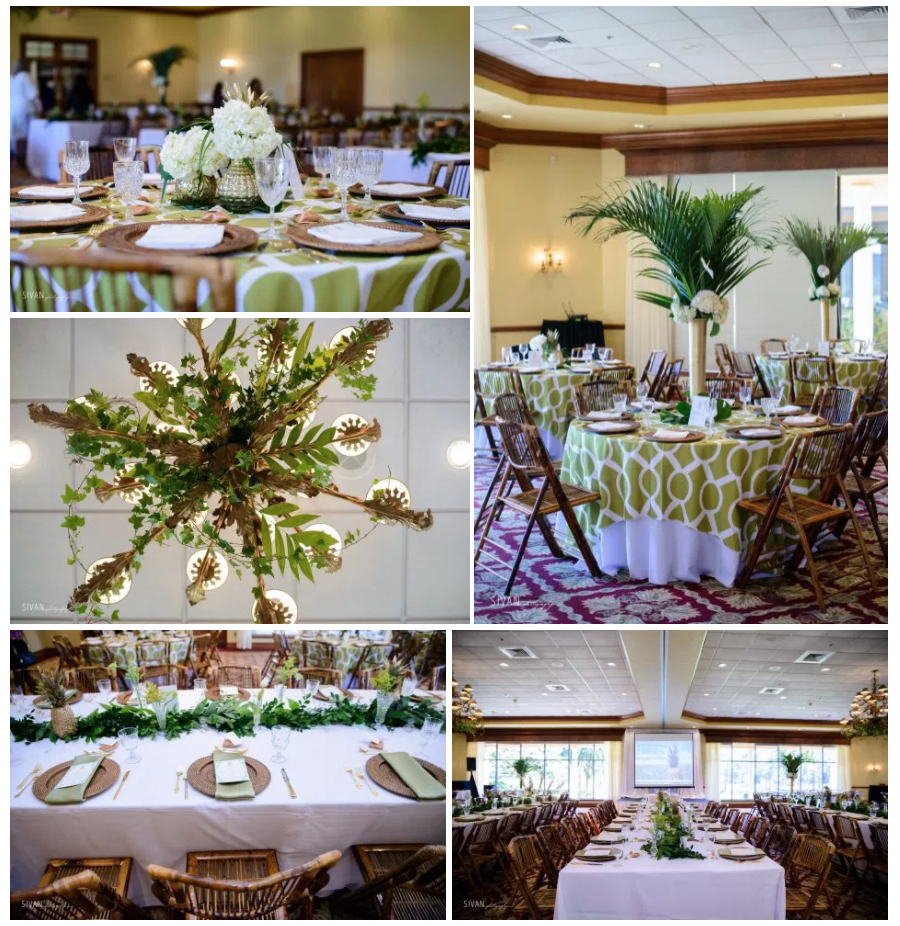 Bluegrass Chic - Tropical Centerpieces with white floral