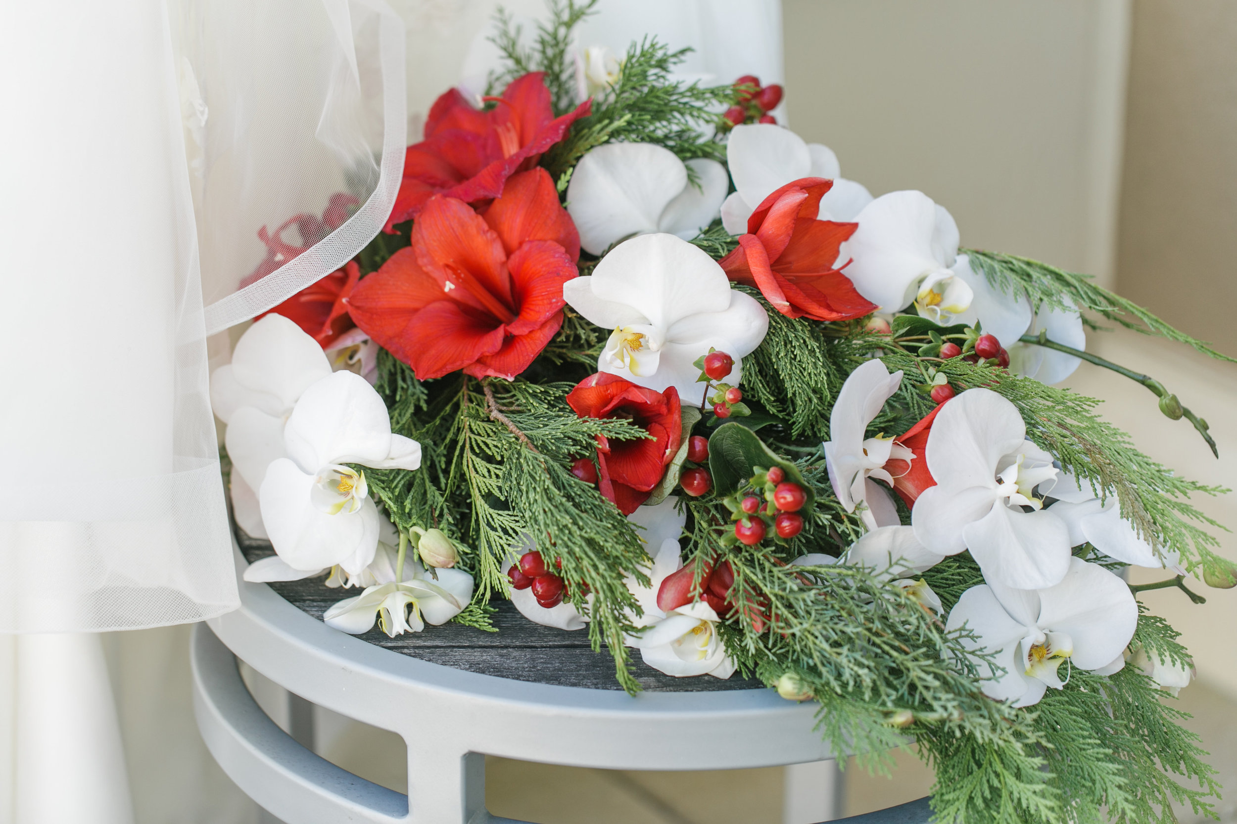 Bluegrass Chic - Orchid and Poinsettia Cascading Bouquet