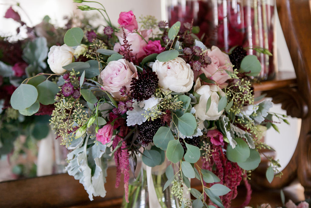 Bluegrass Chic - Wedding bouquet berry colored