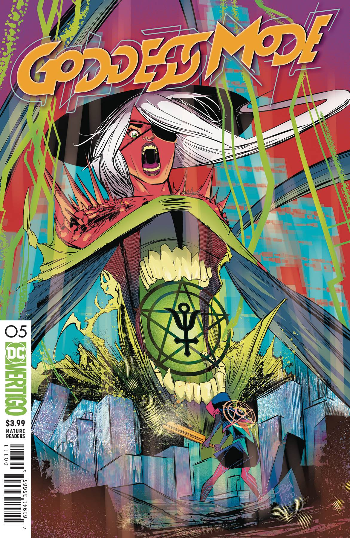 GODDESS MODE #5 - The deadly Daemon/human hybrid known as Antimony has been a constant threat to Cassandra ever since she first entered the secret world of Azoth. But the Tall Poppies are going to learn just how wrong they were about this most mysterious foe when DC Vertigo's cyberpunk saga travels back to the origins of Azoth itself…and who really built it…and why.