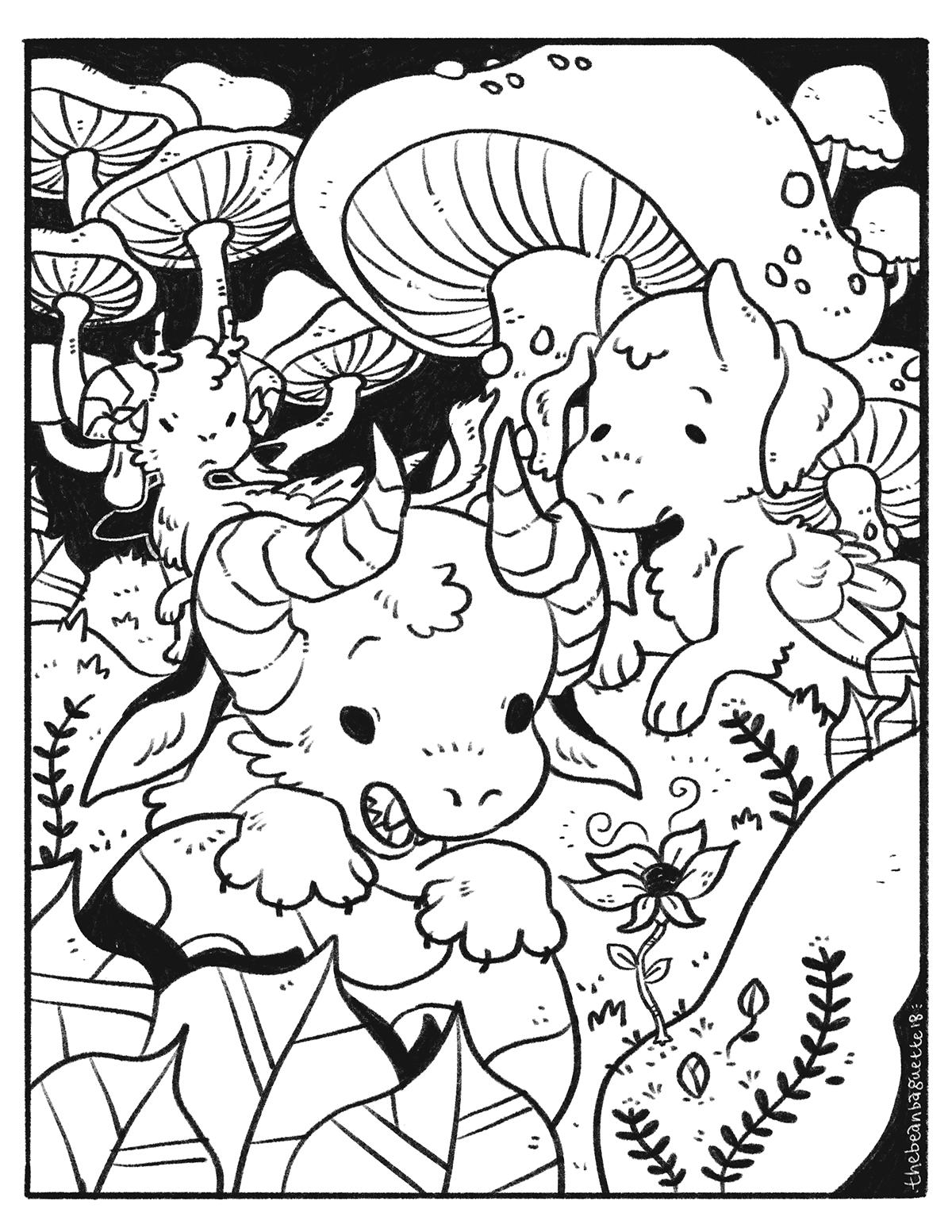 bbaguette feb2018 coloring page -- mushroom hunters.png
