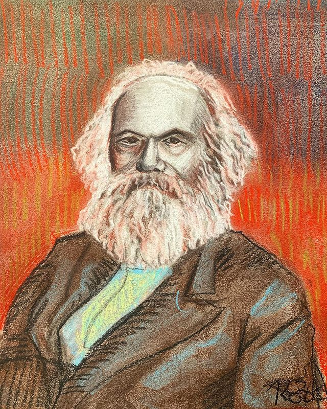 Das Kapital. Pastel and charcoal on 8x10 inch paper. A gift for Peter for our anniversary that's coming up.