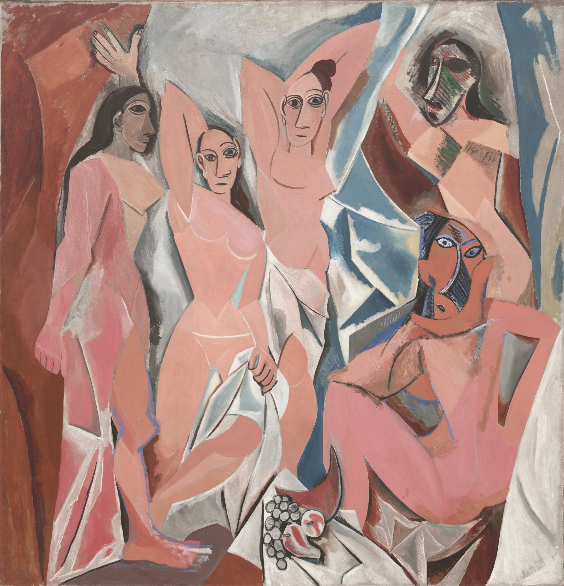 Les Demoiselles d'Avignon  (The Young Ladies of Avignon) by Pablo Picasso, 1907.