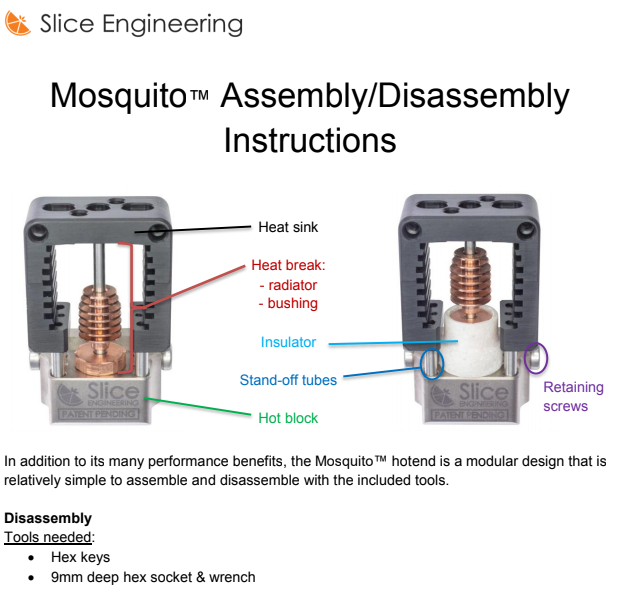 Assembly /Disassembly - Instructions for assembling or disassembling the Mosquito™/Mosquito Magnum™ Hotends