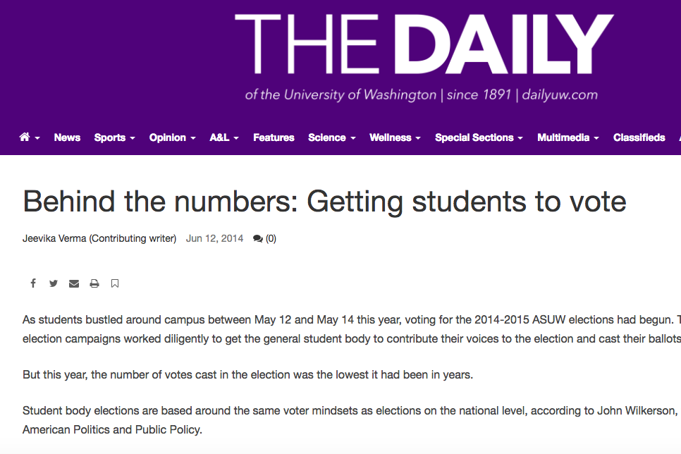 behind the numbers: getting students to vote - June, 2014