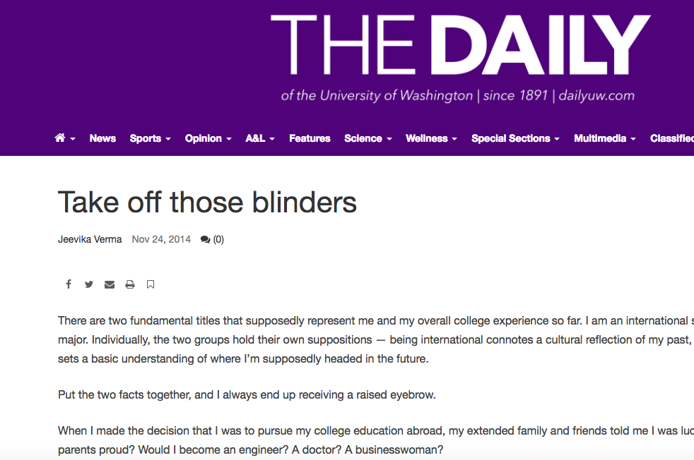 take of the blinders - November, 2014