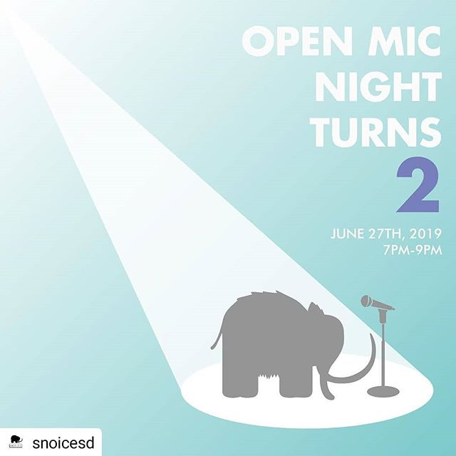 it's @snoicesd two year open mic anniversary! here's your opportunity to celebrate with them and perform music, poetry, comedy, and just about anything for the community! swing by next thursday, june 27th for a night of family fun and entertainment. this event is open to all. — special guests/vendors: @photobooph @4thedistrict San Diego Slam Team ...and more to come! — *this event will be hosted outdoors! — sign-ups begin at 6:30, and the show starts at 7! . . . . . #snoicesd #openmicnight #openmic #photobooph #4thedistrict #sdslamteam #madeinPH #madeinparadisehills #sandiego #boba #dessert #shavedsnow #icecream