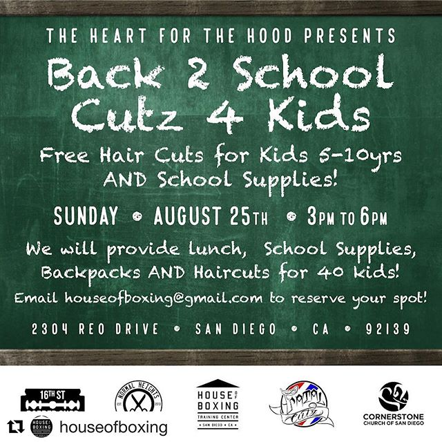 "If you know a kid 5-10yrs old and in need of a helping hand to get ready for school. Let us know!! Email us at houseofboxing@gmail.com with child's Name, Age, Shirt size and Parent's contact info. We are ready to help 40 kids, so please email us soon. Thank you to @_fatalcuts, @thechampsbarber @_dvnielb_ @pastorsergiodlm for their ""Heart for the Hood."" Thank you to our good friend @chikle79 for the great flier! Lets go!! #heartforthehood #goingbacktoschool #makingadifference #forthekids #cutz4kids #elementaryschool #givingback #feelgood #fatalcutz #16thstreetbarbershop #normalhieghtsbarbershop #goodinthehood"