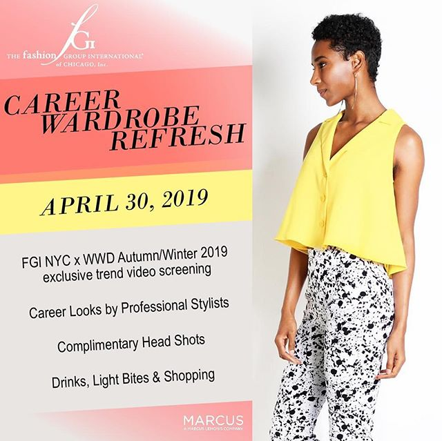 Tomorrow, April 30th, join me at this great event I've helped set up! There will be a trend video from FGI NYC & @wwd, you can get a complimentary new headshot by @zac.koretz, a $15 giftcard for @shopmarcus and see looks styled by @leadingimage & @ksstyleconsulting.  Get your tickets through the link in the profile for @fgichicago  Looking forward to seeing you there! 🙌🏻