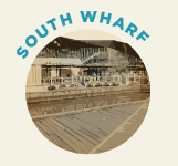 South Wharf was once a hive of activity with dockside workers, and in recent years has been re imagined as a shopping and dining precinct.