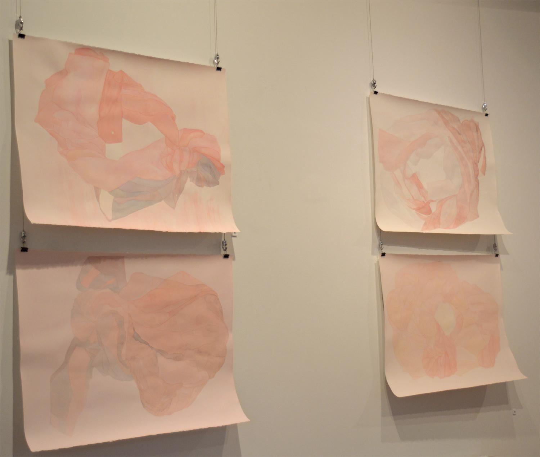 Clasp (  top left)  2019  Watercolour on paper  56 x 76cm  ————   Enshroud (bottom left)    2019   Watercolour on paper  56 x 76cm  ————   Hover (top right)   2019  Watercolour on paper  56 x76cm  ————   Tuck (bottom right)   2019  Watercolour on paper  56 x 76cm