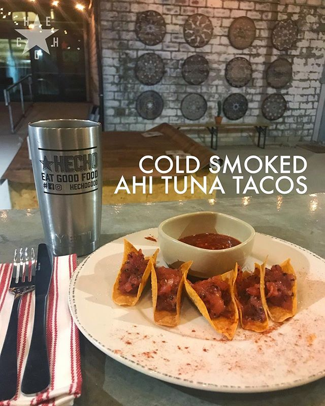 . Cold Smoked Ahi Tuna Tacos at HECHO: The Restaurant, Opening soon at 411 South Main St, City of Fort Worth, State of Texas . . . . . . . #igtexas