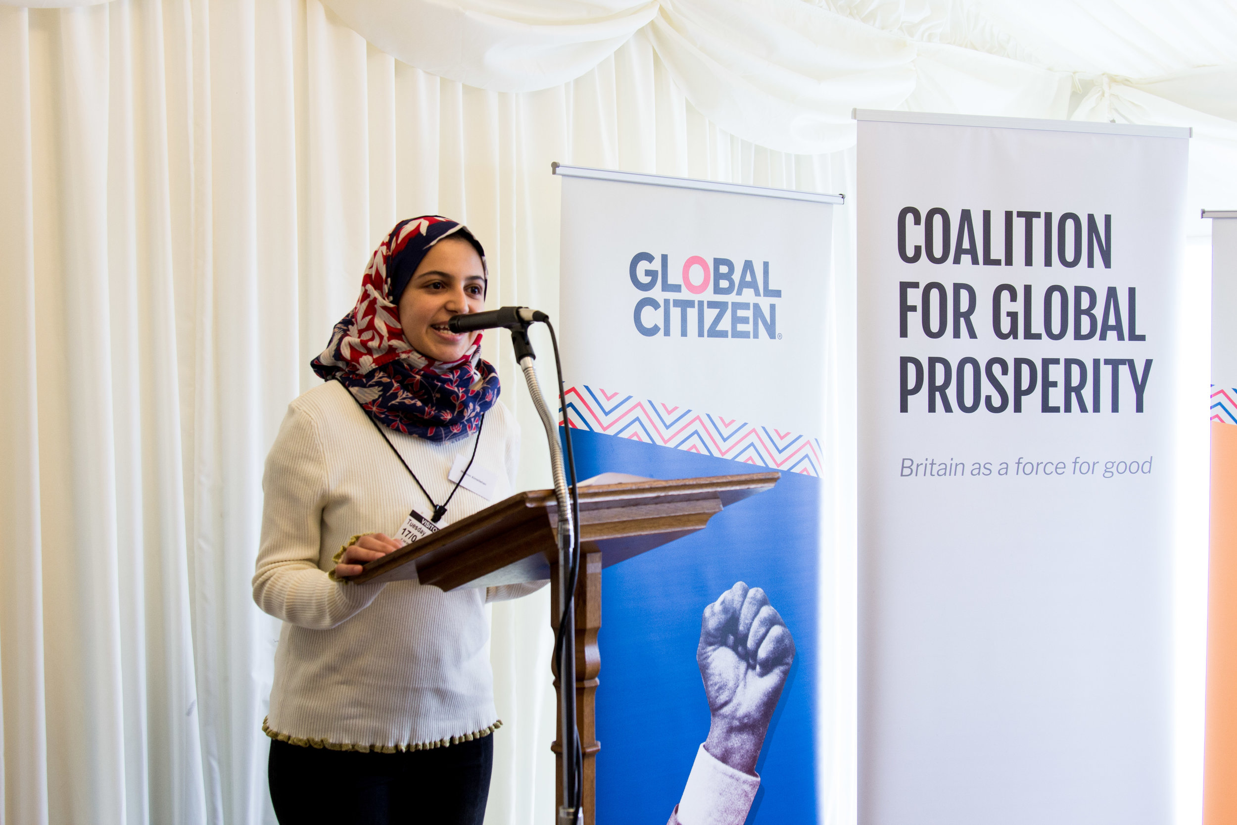 UNICEF Goodwill Ambassador and Education Campaigner    Muzoon Almellehan    speaking at the event