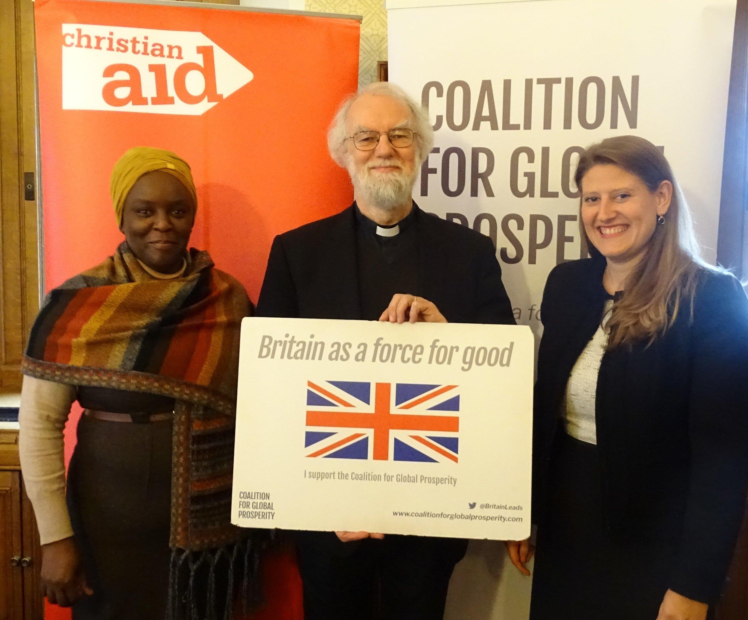 Amanda Mukwashi (CEO, Christian Aid), Lord Rowan Williams, Theo Clarke (CEO, Coalition for Global Prosperity)