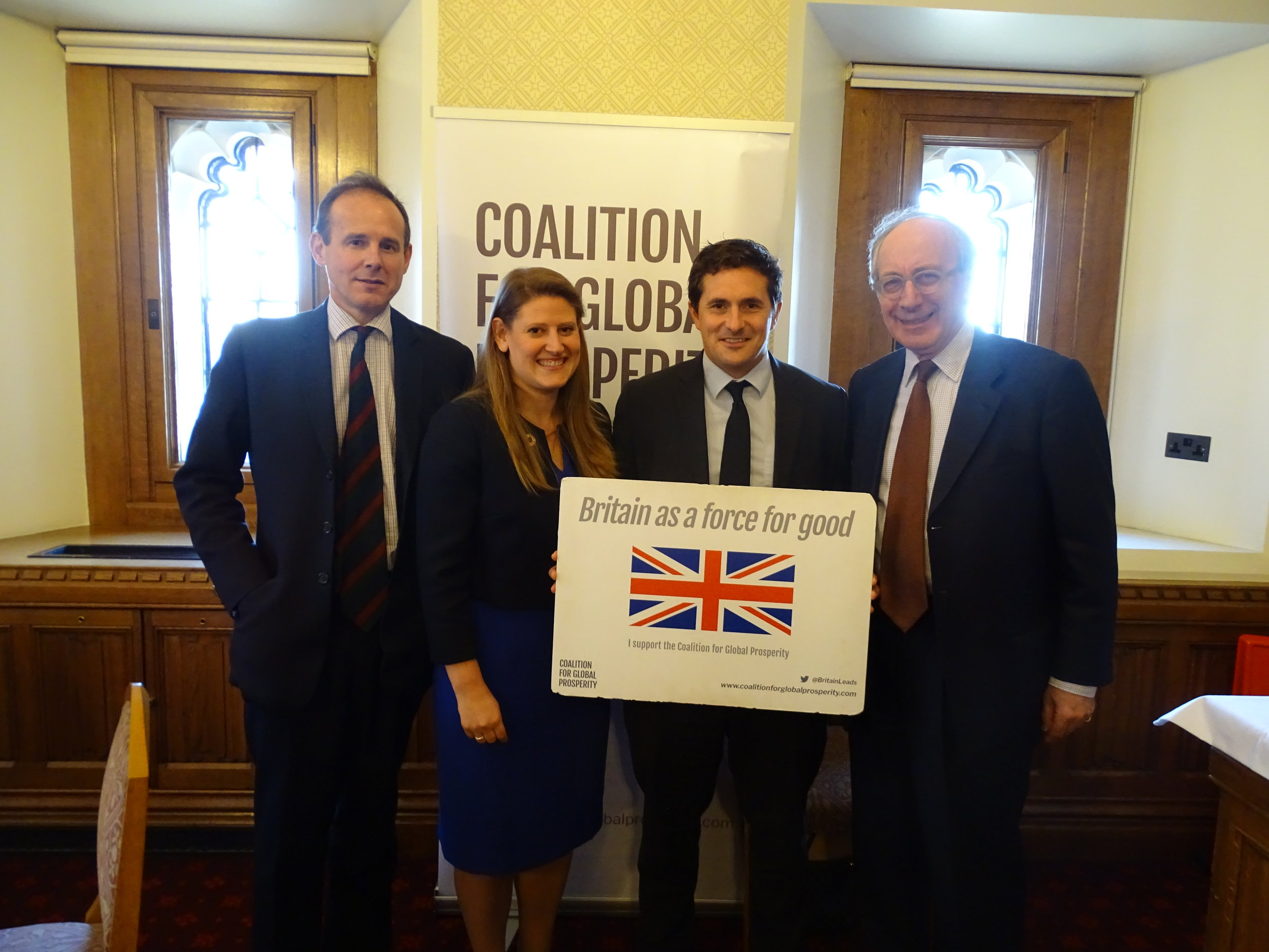 Major General James Cowan (CEO, The Halo Trust), Theo Clarke (CEO, The Coalition for Global Prosperity), Johnny Mercer MP, and The Rt Hon Sir Malcolm Rifkind QC