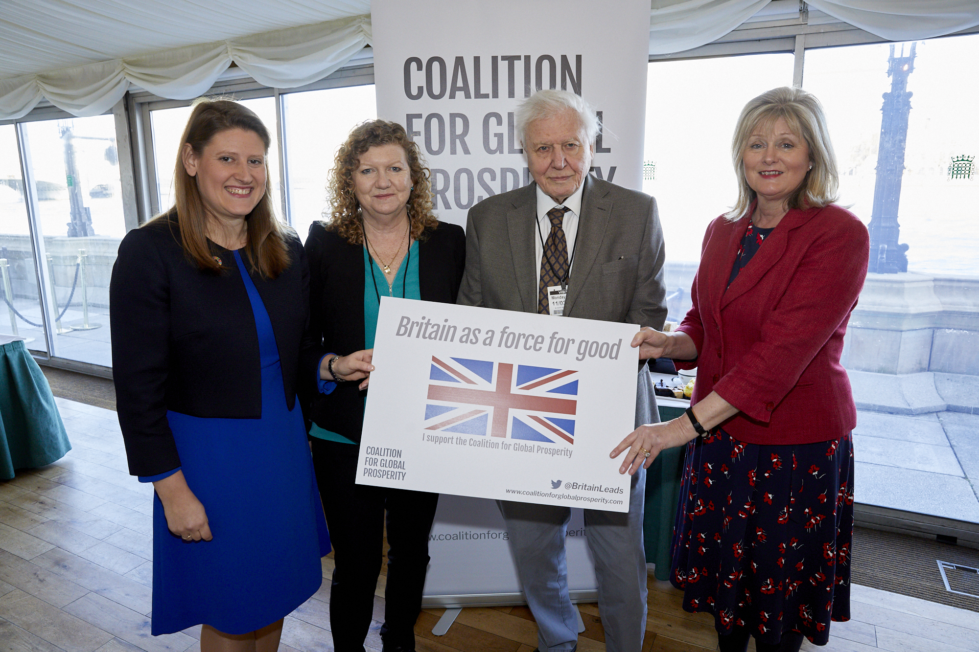 Theo Clarke, Jo Ruxton, Sir David Attenborough CBE and Anne Main MP