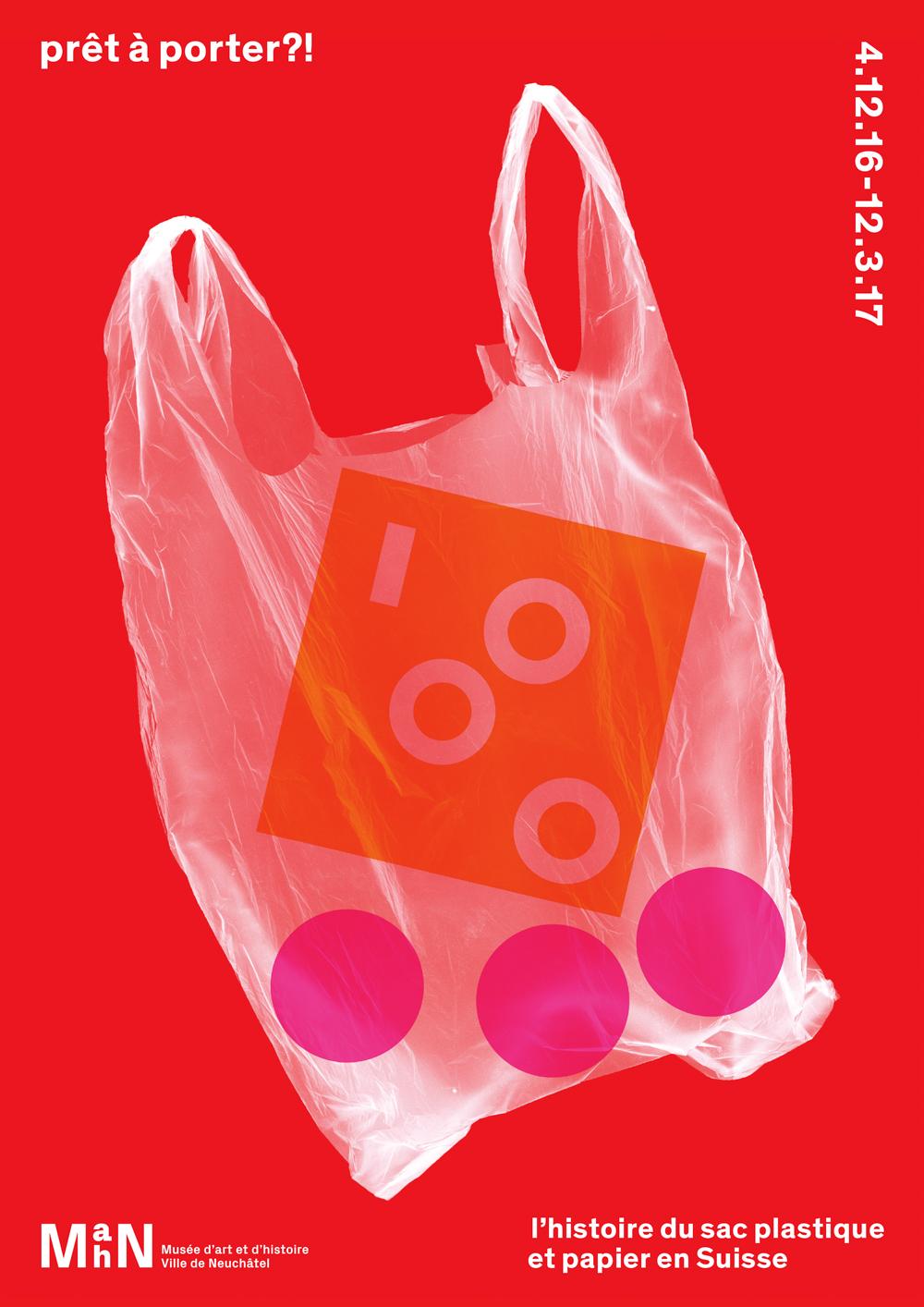 """Affiche de l'exposition """"Prêt à porter ?! l'histoire du sac plastique et papier en Suisse"""""""