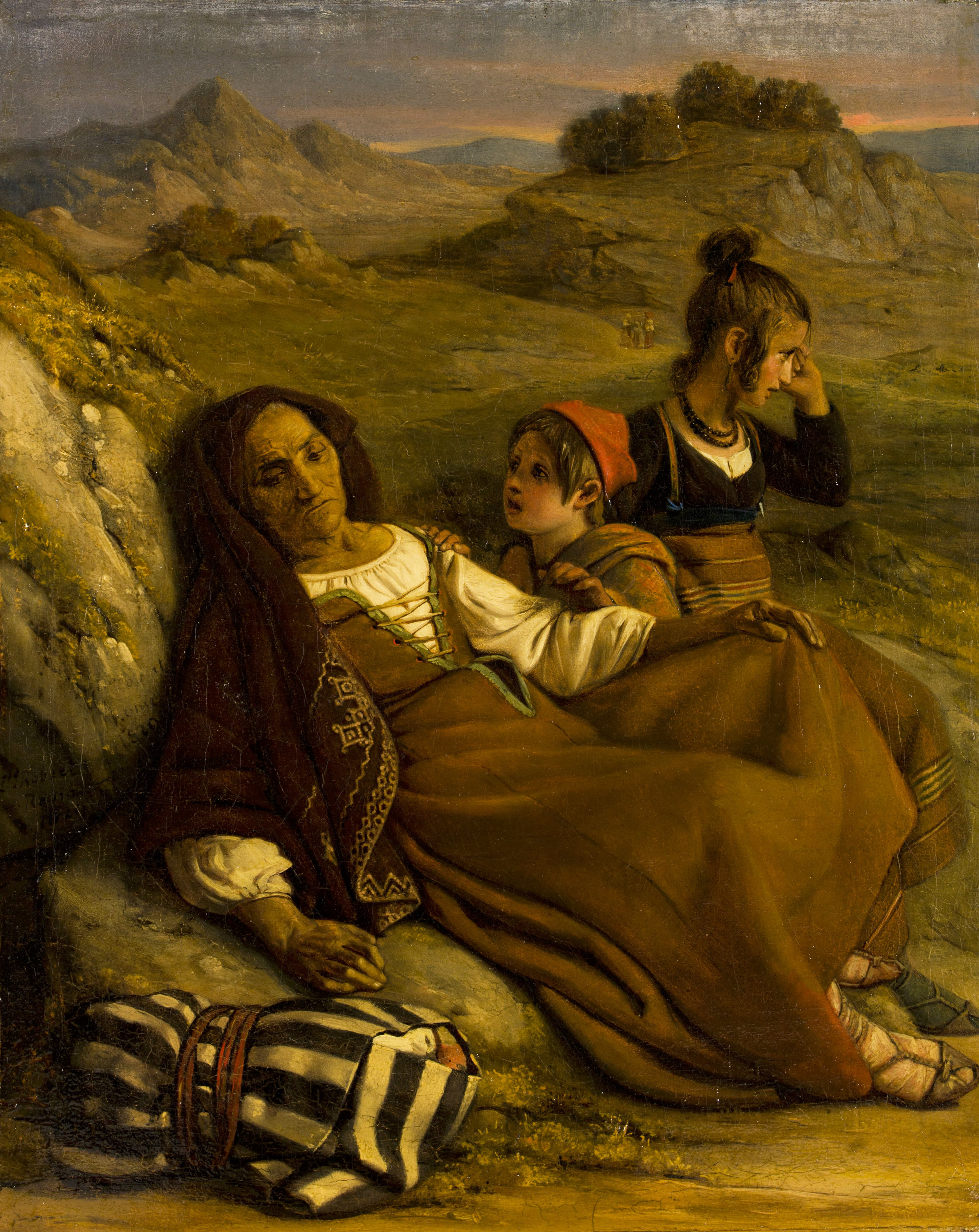 Léopold Robert  Vieille femme malade avec ses petits-enfants , huile sur toile