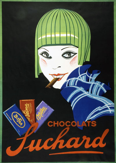 """Ancienne affiche publicitaire de l'entreprise Suchard, présentée dans l'exposition """"Le monde selon Suchard"""""""