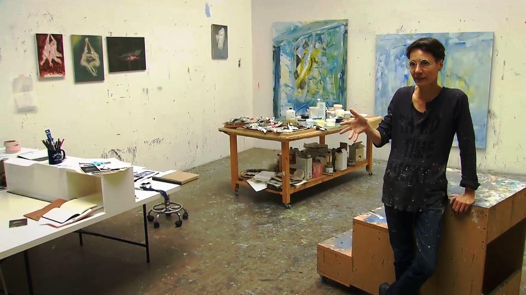 Valérie Favre dans son atelier berlinois en 2016