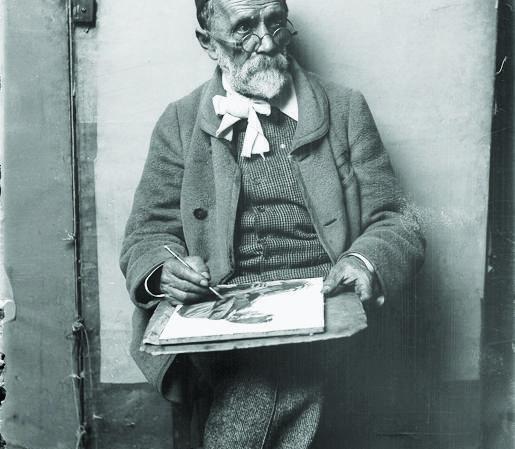 Le peintre Albert Anker vers 1909, photographie de Montbaron & cie, à partir du négatif au gélatino-bromure d'argent sur support verre