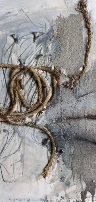 Rolf Iseli (*1934),  Der Optimist , 1994, (détail), aquarelle, acrylique, craie grasse, sable, terre, métal (clous) et corde sur papier, 625 x 498 mm. Donation Jeunet en 2000, Francis Jeunet ayant été membre du comité d'ARTHIS