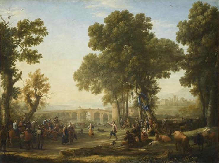 """""""La Fête villageoise"""" de Claude Lorrain a été recopiée par Maximilien de Meuron. Cette oeuvre déposée au Louvre a fait l'objet de plusieurs restaurations dont nous a parlé notre guide du soir, Béatrice Zahnd"""