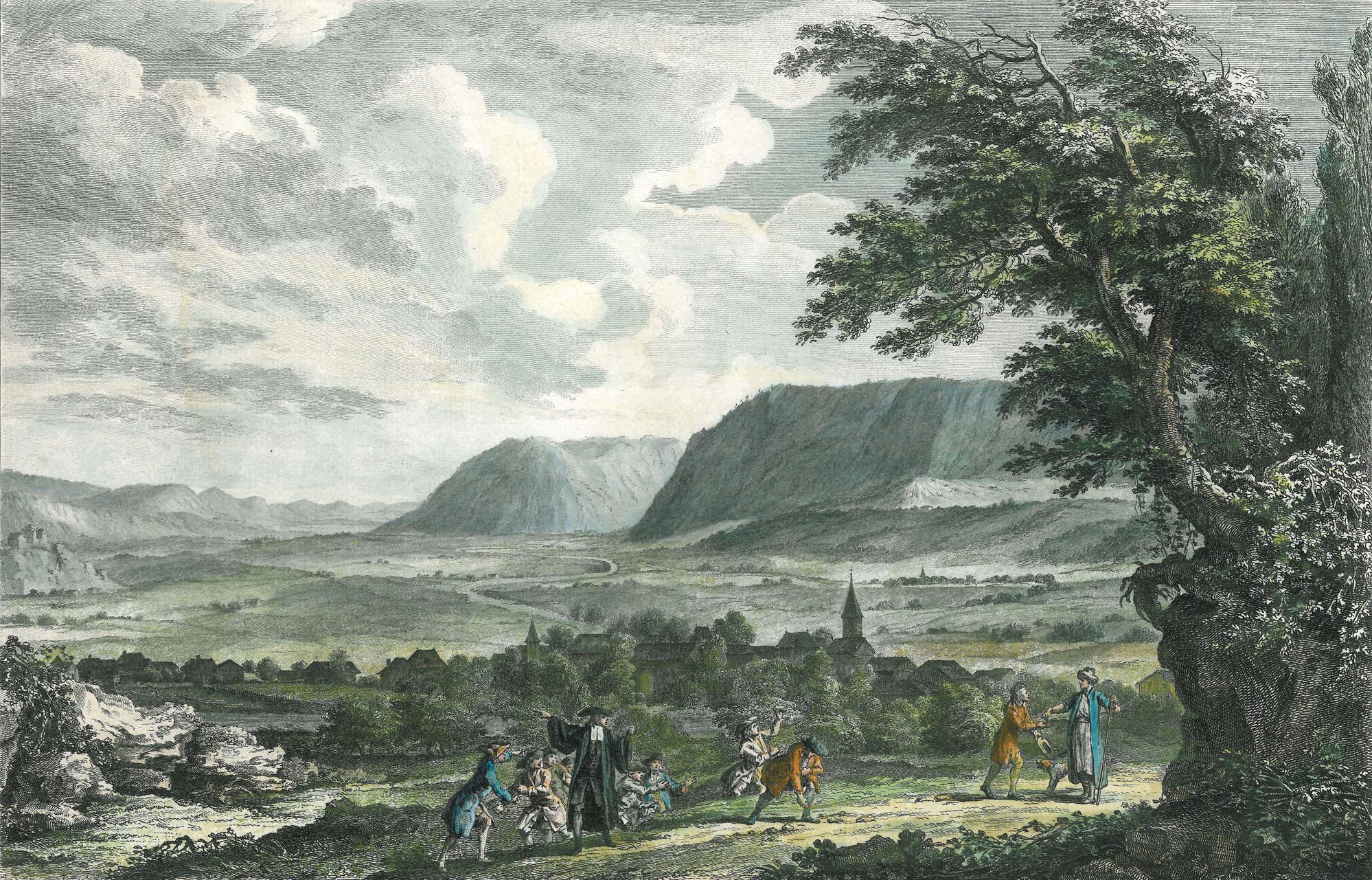 Rousseau (avec le manteau bleu à droite) au Val-de-Travers