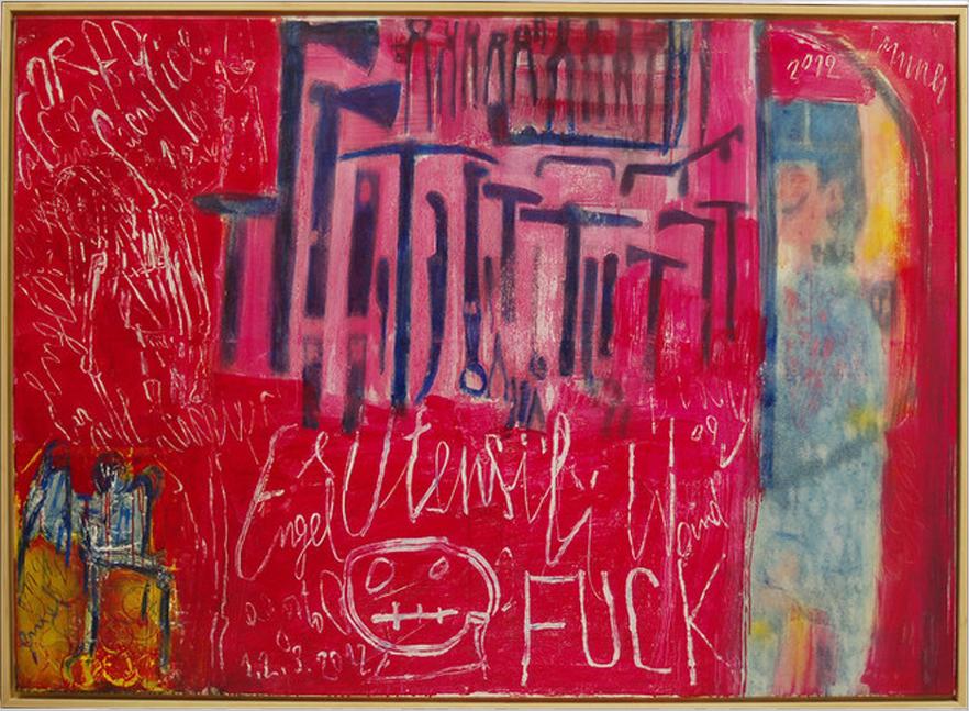 Utensili e gendarme , 2012, huile sur toile, 137 x 186 cm
