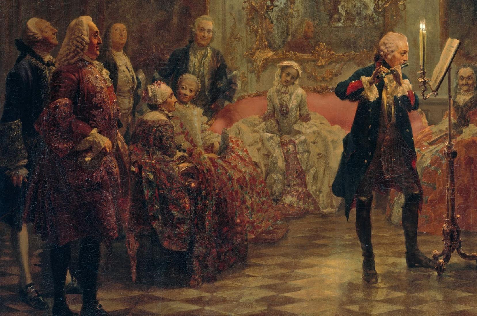 Adolph Menzel  Concert de flûte pour Fréderic le Grand àSans-Souci , 1850 (détail)