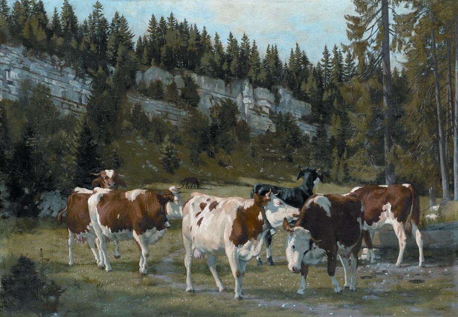 Vaches au pâturage  de Jules Jacot Guillarmod, huile sur toile