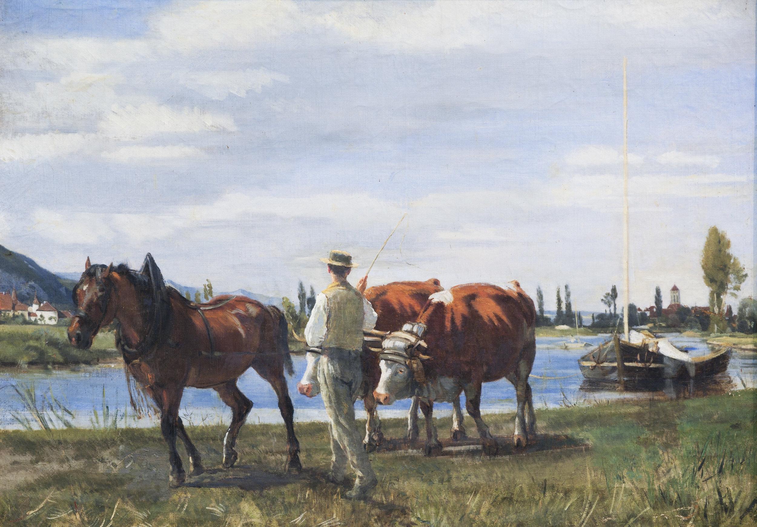 Halage le long de la Thielle avec vue sur Le Landeron et St-Jean de Jules Jacot Guillarmod, sans date (vers 1859)