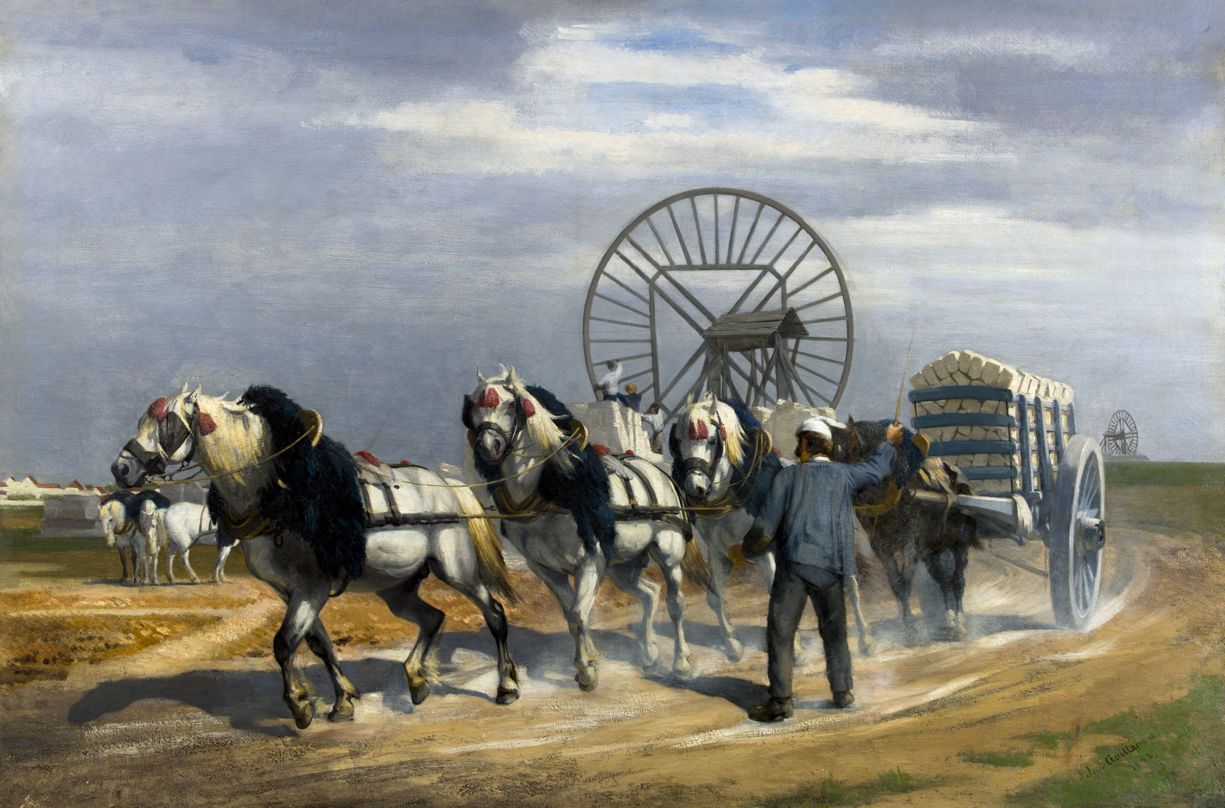 Le coup de collier (souvenir des carrières de Montrouge, près de Paris)  de Jules Jacot Guillarmod, 1862, huile sur toile 98 x 148,5 cm