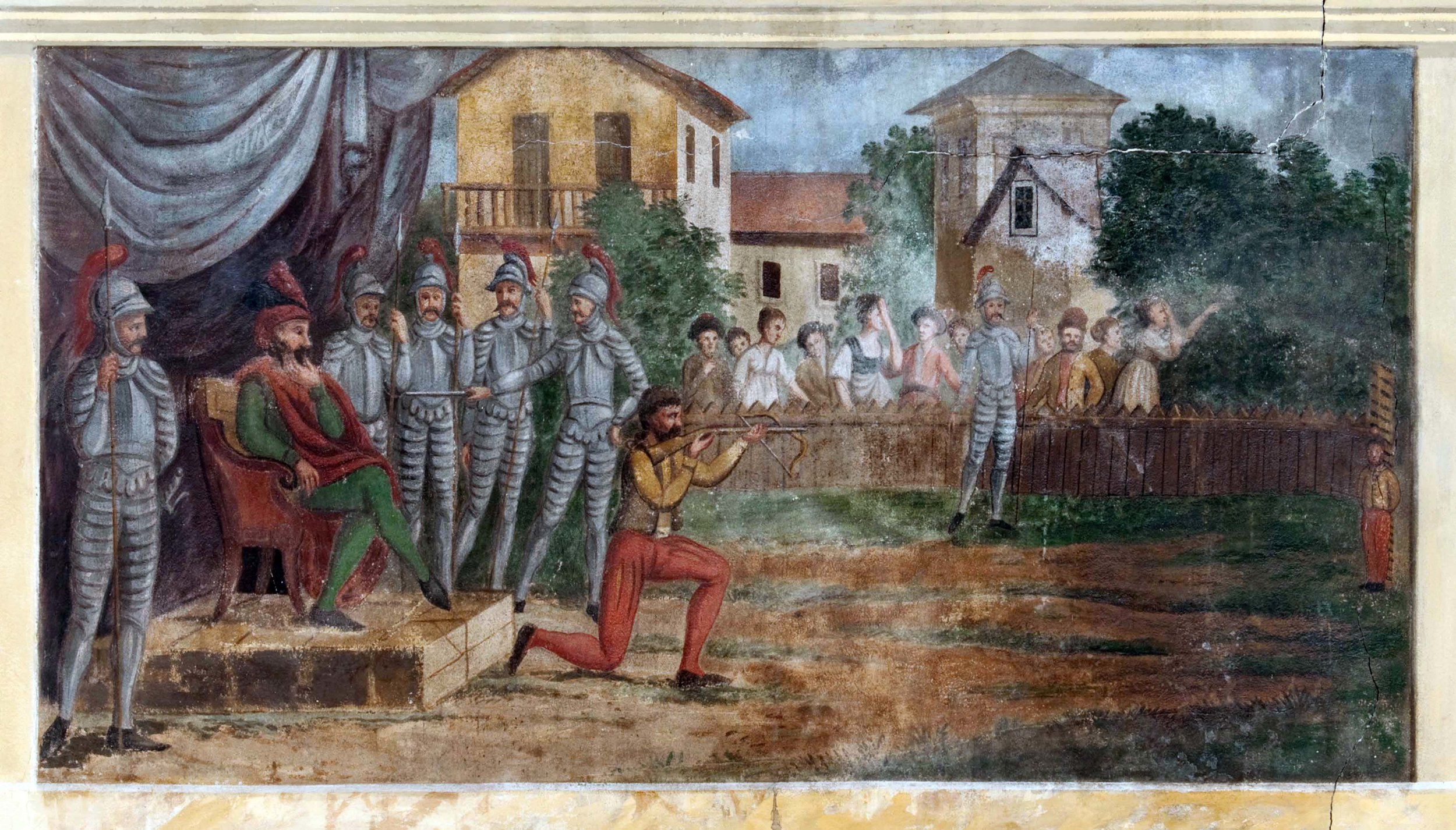 Tell tirant la pomme, peinture murale provenant de la Grande Rochette (av. de la Gare à Neuchâtel), 19e siècle