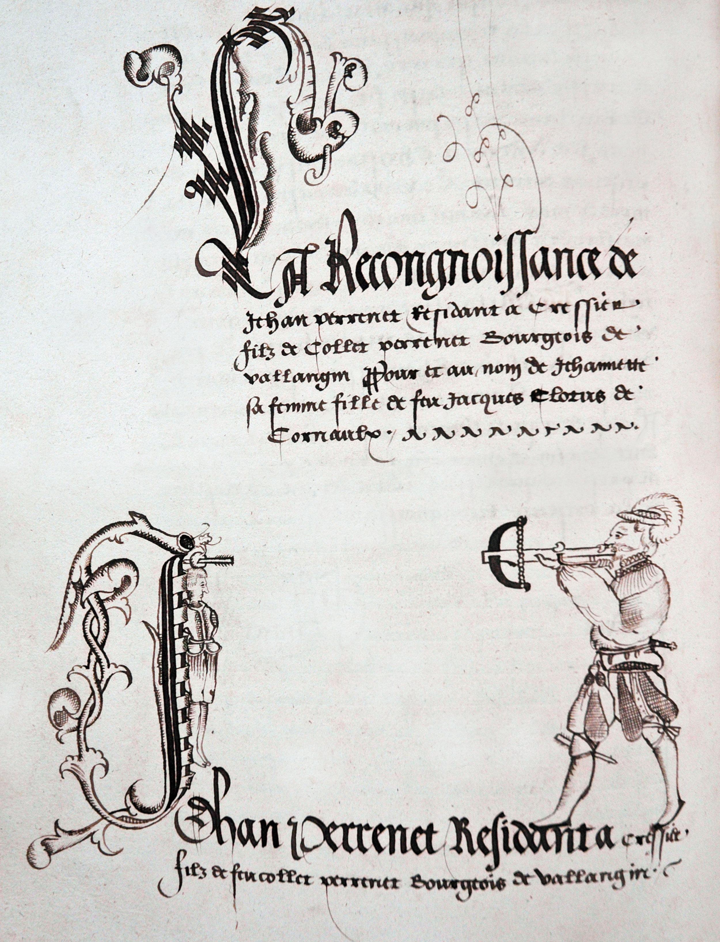 A droite, Guillaume Tell, coiffé d'un chapeau à plume, l'arbalète en joue, vient de tirer. A gauche, la pomme posée sur la tête de son fils est transpercée par la flèche. Tell a caché dans sa jambière une deuxième flèche destinée au bailli Gessler.