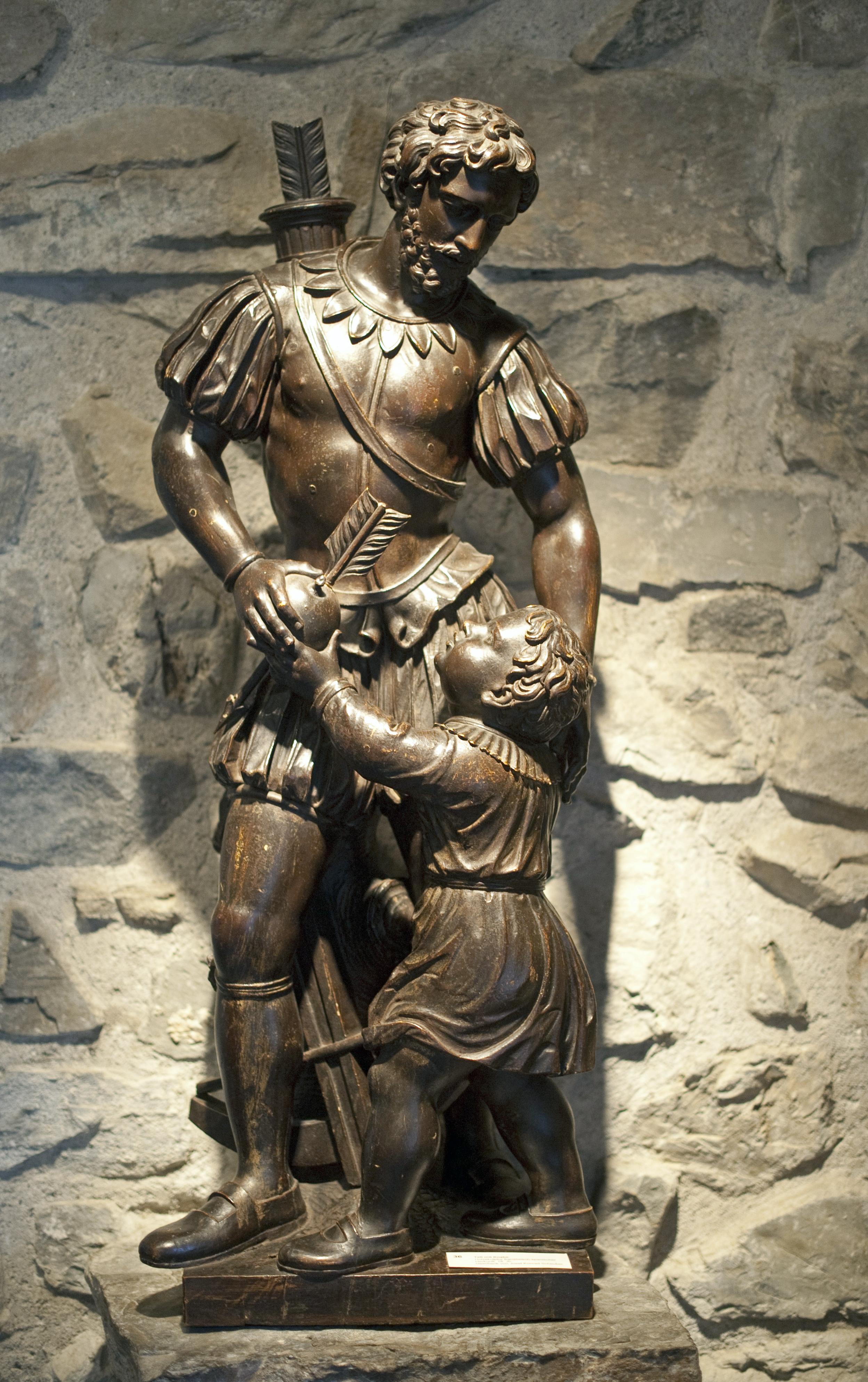 Tell et son fils, sculpture en bois franco-espagnole, 18e siècle