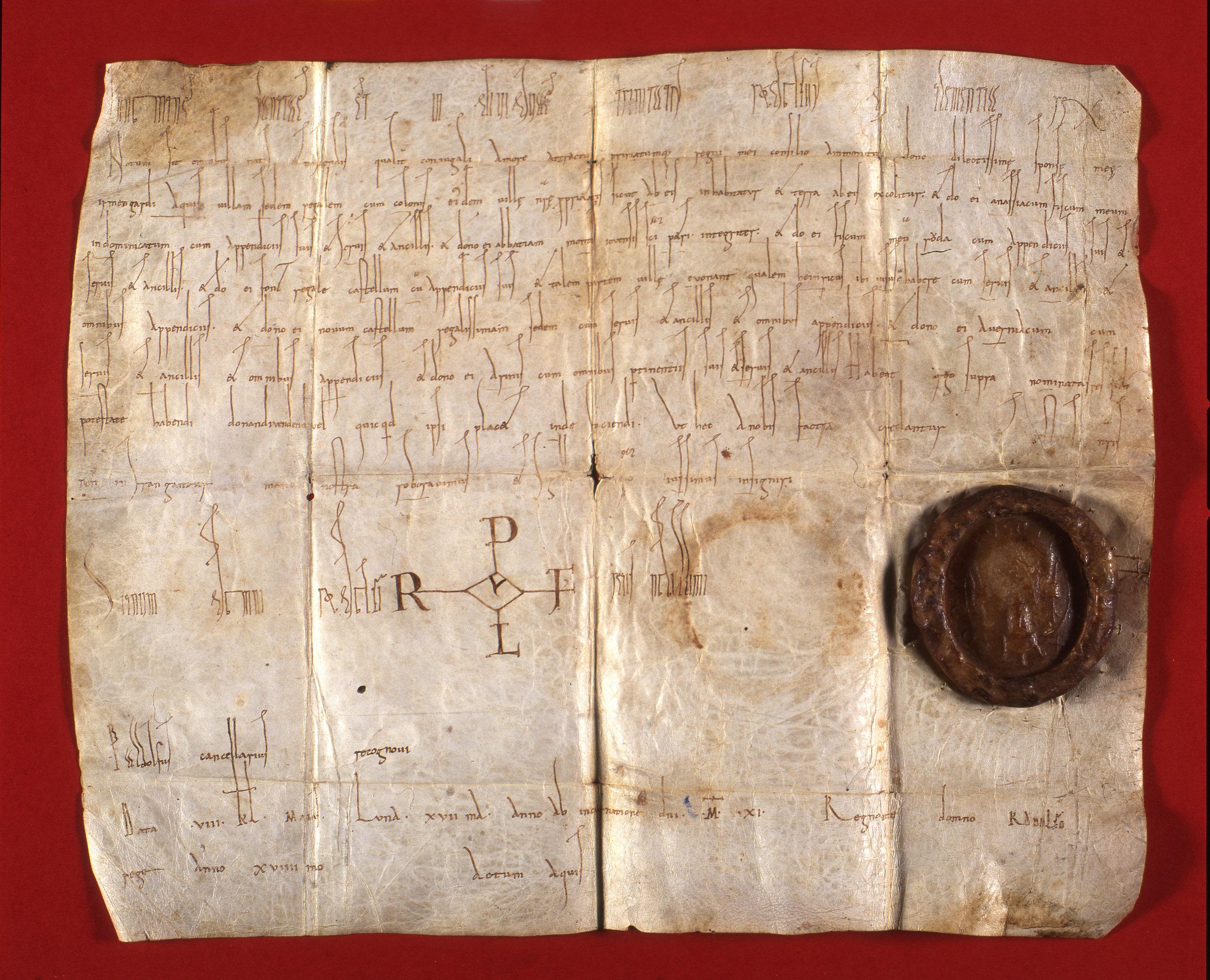 Acte de donation de Rodolphe III, roi de Bourgogne, à son épouse Irmengarde, 1011